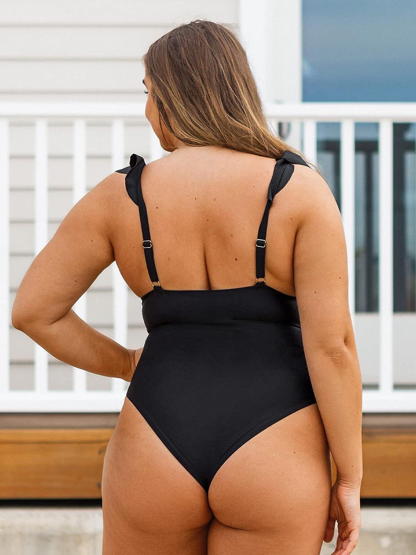CUPSHE Women's One Piece Swimsuit Ruffle Plus Size Bathing Suit Black