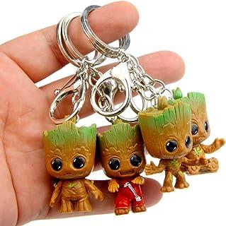 ميدالية مفاتيح من sunliveus Cute Baby Groot مكونة من 4 قطع من الرسوم المتحركة المتحركة لفرقة Galaxy Q Treant Grote مصغرة، ...