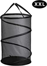 GANAMODA Collapsible Spiral Pop-up Mesh Hamper - Thicken to Avert Fissuration,Reinforced Carry Handles and Nylon Bottomand,for The Occasions of Home,Laundry Room,Travel Black (1)