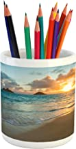 Lunarable Hawaiian Pencil Pen Holder, Scenic Sunrise Over Ocean Rocks Sand Clouds Sunshine Tide Sunbeam Seashore, Ceramic Pencil Pen Holder for Desk Office Accessory, 3.6