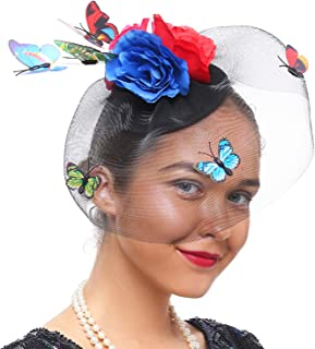 Coucoland Women's Fascinator Hat Veil Mesh Hair Clip for Cocktail Derby Kentucky Party