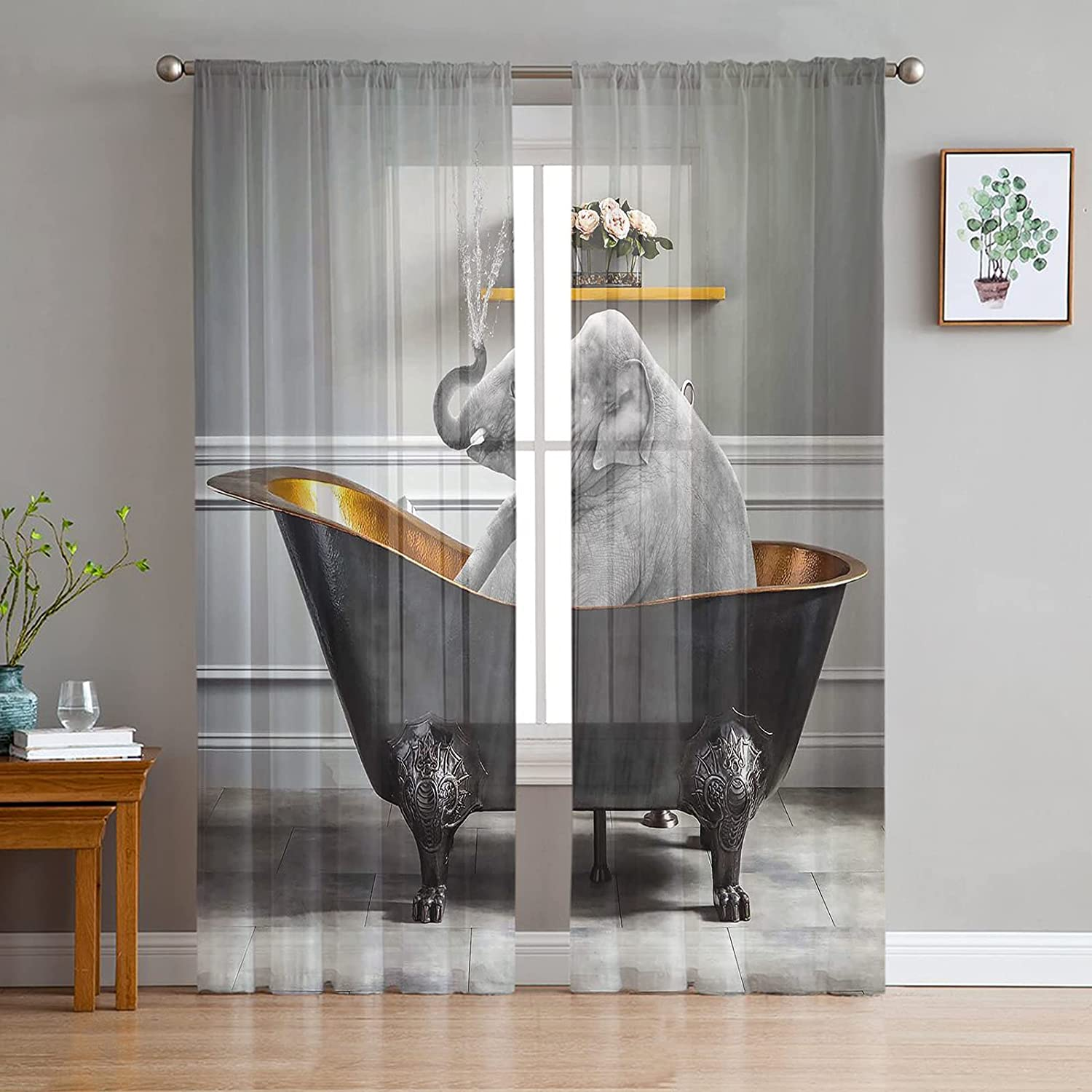 2 Panels Directly managed store Sheer San Antonio Mall Curtains Light Drapes Filtering Elephant African
