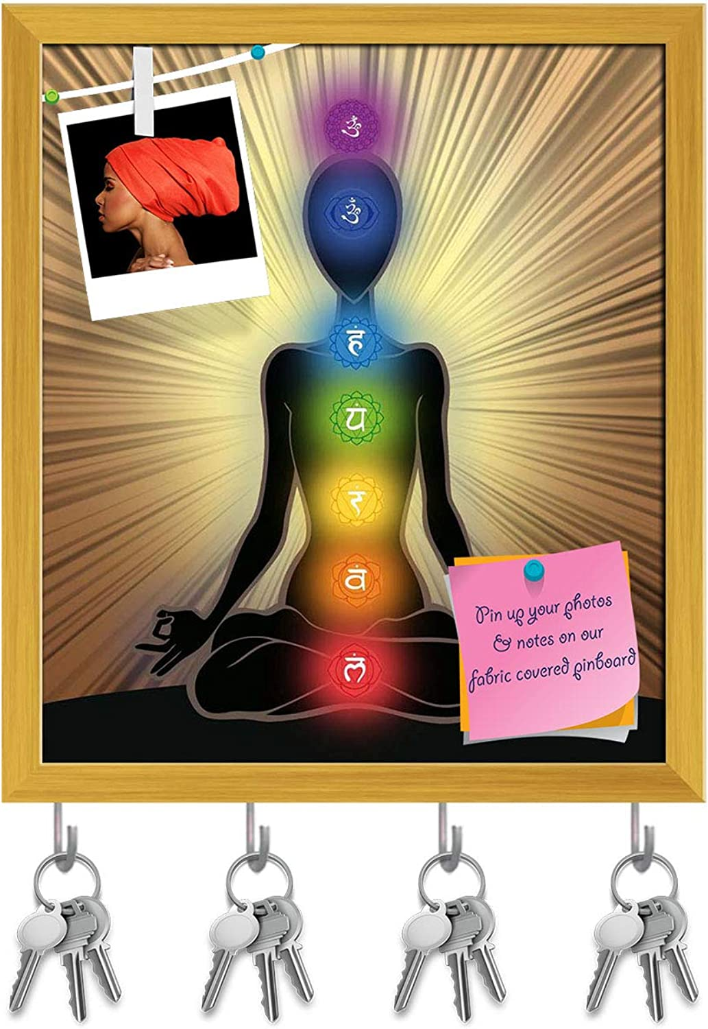 Artzfolio Yoga Position with The Symbols of Seven Chakras D2 Key Holder Hooks   Notice Pin Board   golden Frame 16 X 18.3Inch