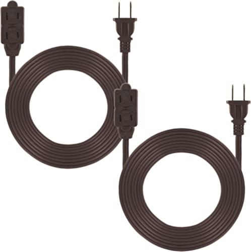 GE 3-Outlet Power Strip, 12 Ft Extension Cord, 2 Pack, 2 Prong, 16 Gauge, Twist-to-Close Safety Covers, Indoor Rated,...