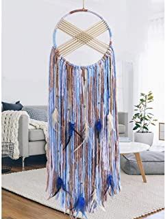 KHOYIME Blue Dream Catcher Large Dream Catchers Traditional Handmade Beige and Blue Feathers Wall Hanging for Kids Bedroom Home Decorations Ornament Decor Craft Gift