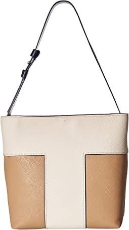Tory Burch - Block-T Pebbled Bi-Color Hobo