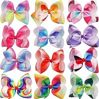 DeD 12Pcs Rainbow Hair Bows For Girl 6