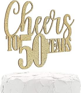NANASUKO 50th Birthday/Anniversary Cake Topper - Cheers to 50 Years - Double Sided Gold Glitter, Premium Quality Made in USA