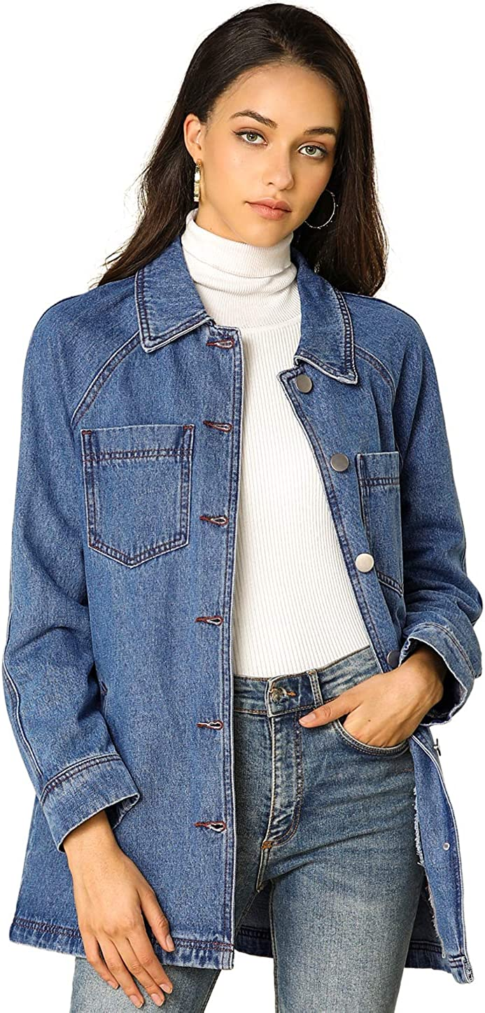 Allegra K Woman's Jean Button Up Long Sleeves Washed Casual Denim Jacket