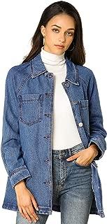 Allegra K Woman's Casual Boyfriend Tie Waist Long Sleeves Loose Denim Jacket