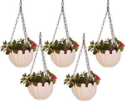 Wonderland (Set of 5) French nest Premium Plastic Hanging Basket with Chain in White