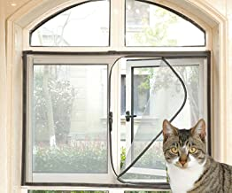 Raamscherm Mesh voor kat met zwarte rits, anti-muggengaas zelfklevende netting, insectenraamnet, zwart frame wit net, posi...