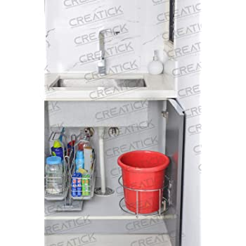 Creatick - Bin Holder/Dust Bin Holder - Stainless Steel - Silver Chrome