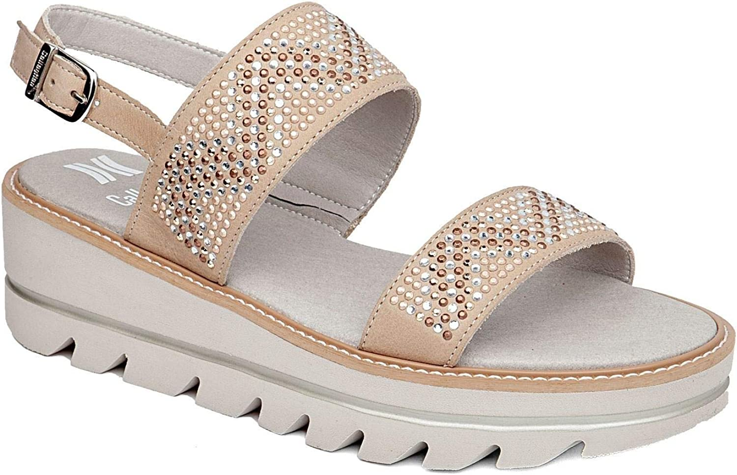 CALLAGHAN 22707 Long Beach Women's Beige Leather Wedge Sandals