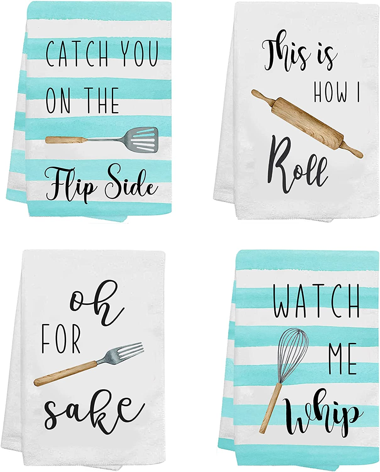KamaLove Funny Housewarming Gifts - Kitchen Towels and Dishcloths Sets of 4 - Decorative Dish Towel, Waffle Towel, Hand Towel, Tea Towel - Gift for Housewarming, Wedding Shower Kitchen Decor New Home