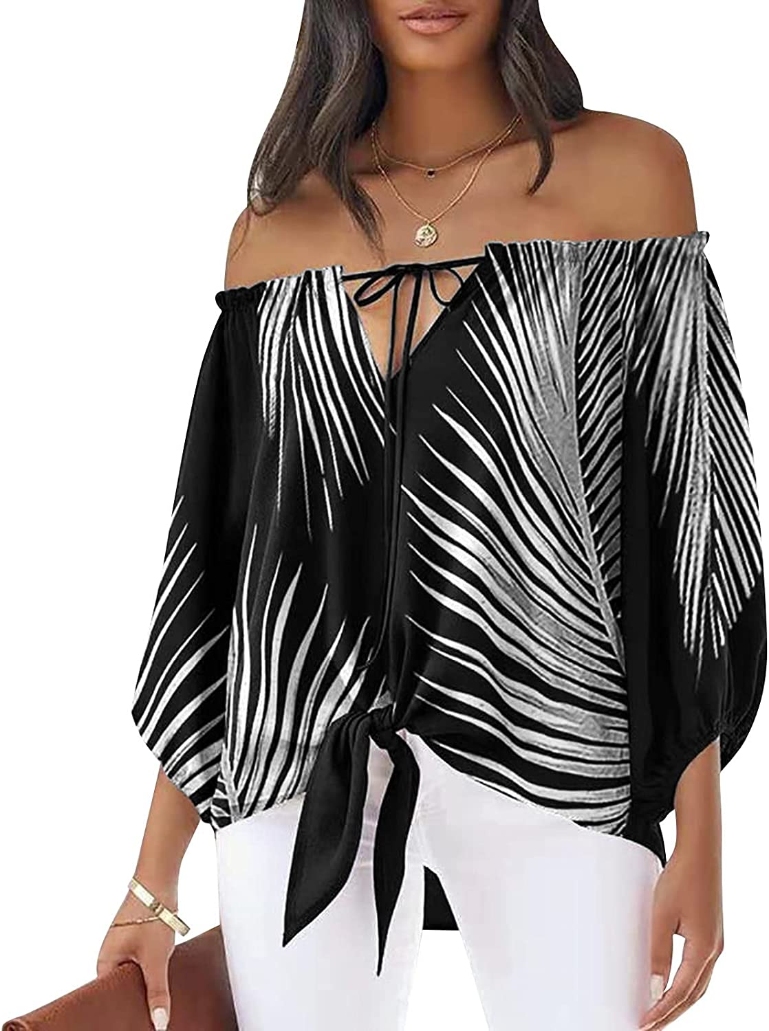 XNXX Blouses for Women Off Shoulder 3/4 Sleeve Tie Knot T Shirts Tops Chiffon Print Casual Tee Shirts