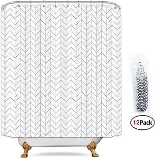 Riyidecor Striped Herringbone Chevron Shower Curtain Panel 72x96 Inch Free Metal Hooks 12-Pack Extra Long White Geometric Decor Fabric Bathroom Set Polyester Waterproof
