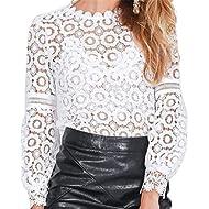 MUYAOO Women's Tops T-Shirt Lace Blouse Ladies Long Sleeve Casual Shirt
