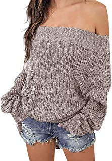 Exlura Women's Off Shoulder Sweater Batwing Sleeve Loose...