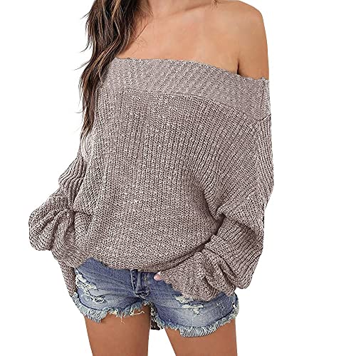 0de83f119acb4 Exlura Women s Off Shoulder Sweater Batwing Sleeve Loose Oversized Pullover  Knit Jumper