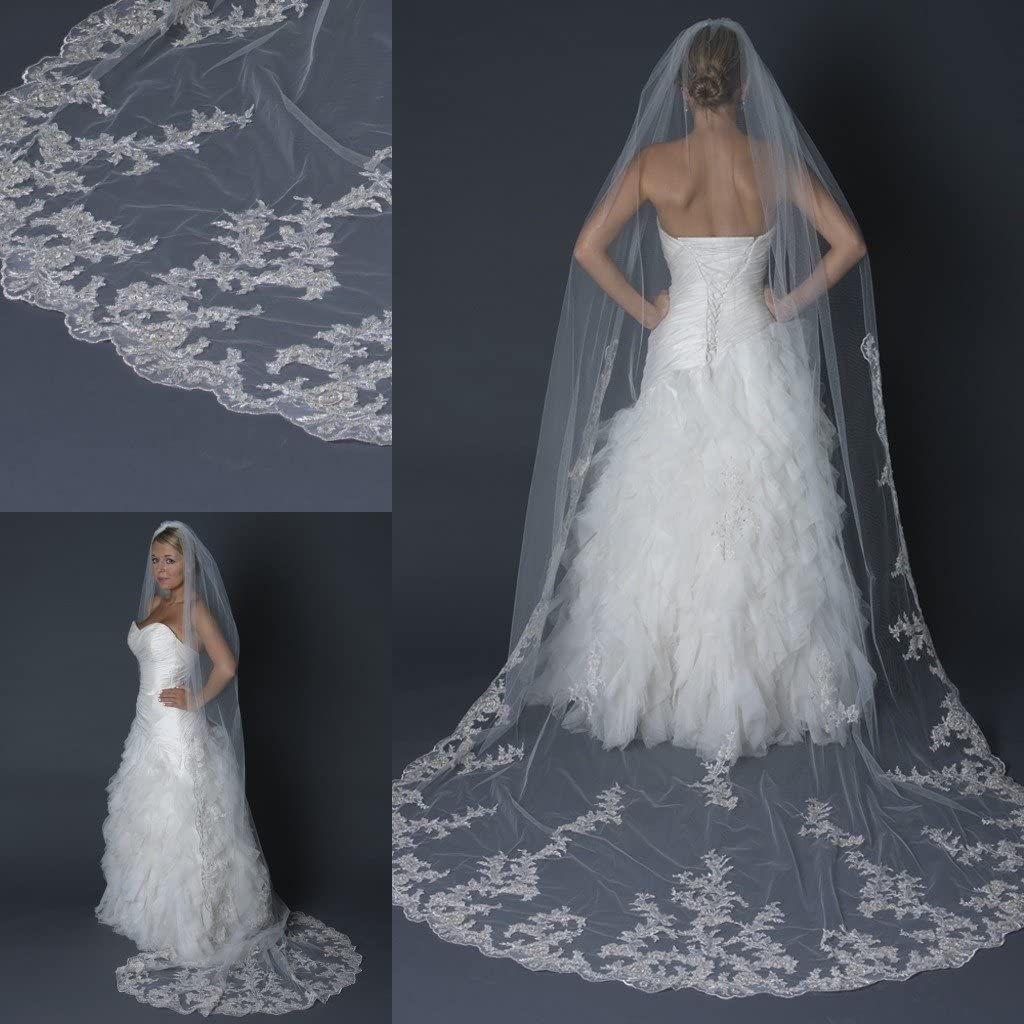 Pretydress Women's Custom Made Lace Long 2 Tier Wedding Bridal Veil With Comb