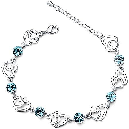Swarovski Elementos Cristal Azul de enclavamiento doble Corazón Chapado en Plata de ley con circonita Pulsera,Regalos Dia de San Valentin