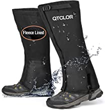 QTECLOR Leg Gaiters Waterproof Snow Boot Gaiters for Snowshoeing, Hiking, Hunting, Running, Motorcycle Anti-Tear Oxford Fa...