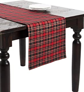 Fennco Styles Classic Tartan Plaid Holiday Table Runner 16 x 108 Inch - Red and Black Table Cover for Christmas, Banquets, Family Gathering, Special Events and Home Décor