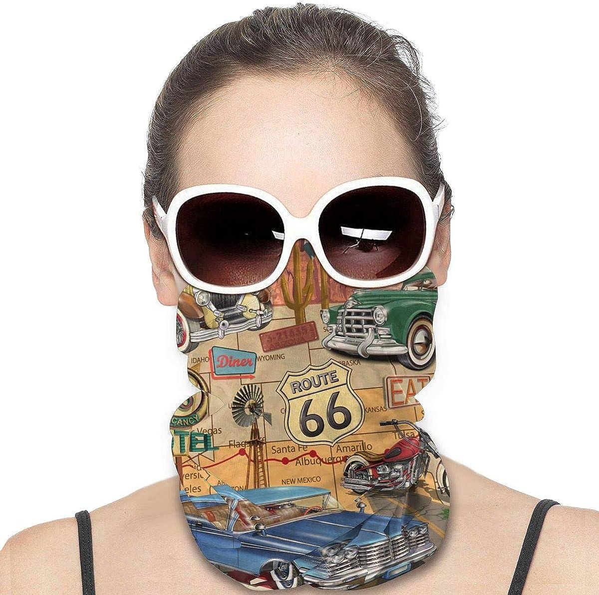 Neck Gaiters for Men - Vintage Car Route 66 Bandana Face Mask Bandana Face Mask Face Scarf Head Bands Face Cover Headbands Sun Mask