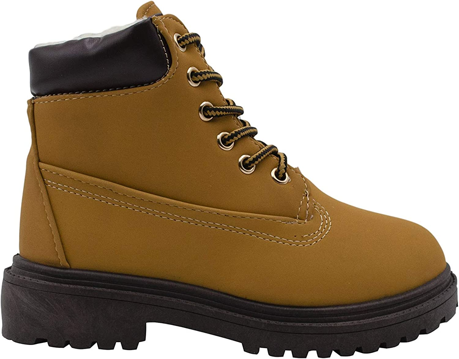 Xertia Boys' Nubuck PU Work Boots with Sherpa Lining, Lace-Up Warm Insulated Ankle Boots, Outdoor Hiking Comfort Fall Winter Shoes Tan Size 11