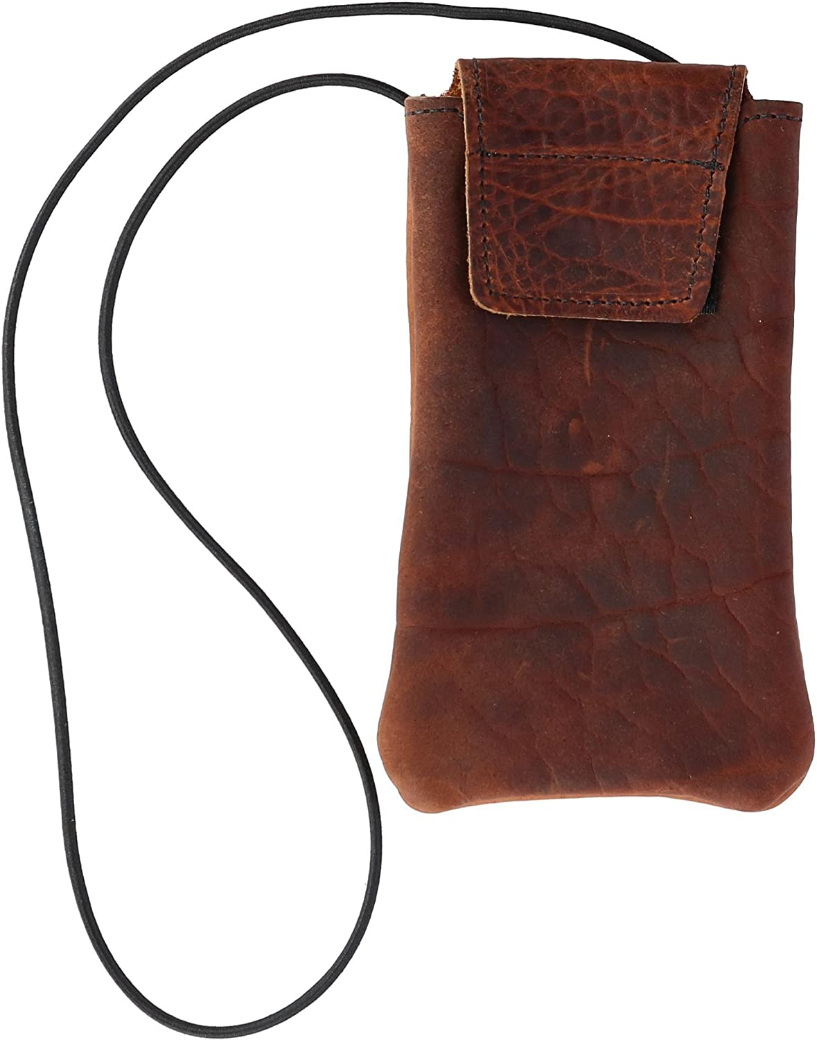 Boston Leather Textured Bison Leather Eyeglass Case with Neck String