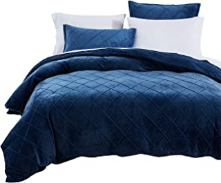 PHF Crystal Velvet Duvet Cover Set - Pinch Pleated Pintuck Bedding with Home Decor Ruffle Soft Warm Luxury Heavyweight for Winter(King, Navy Blue)