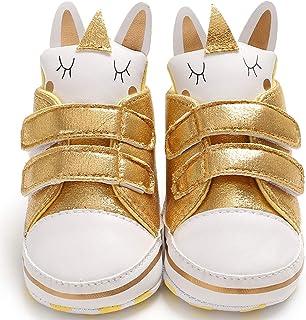 Gupgi Unisex Bebé Zapatillas Altas Zapatillas para niños pequeños Suela Blanda Dibujos Animados Zapatos para Primeros Caminantes