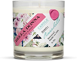 Bella Donna Soy Wax Candle Rosabella – Non-Toxic Essential Oil Rose Scented Soy Candle with Lead-Free Wick 8 Oz