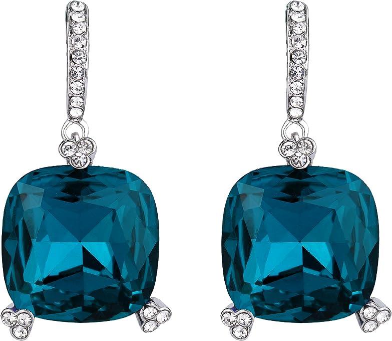 BriLove Women's Bohemian Boho Round Cushion Cut Crystal Bended Filigree Long Dangle Earrings