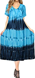 Women Summer Casual Swing T-Shirt Dresses Beach Cover up Hand Tie Dye A