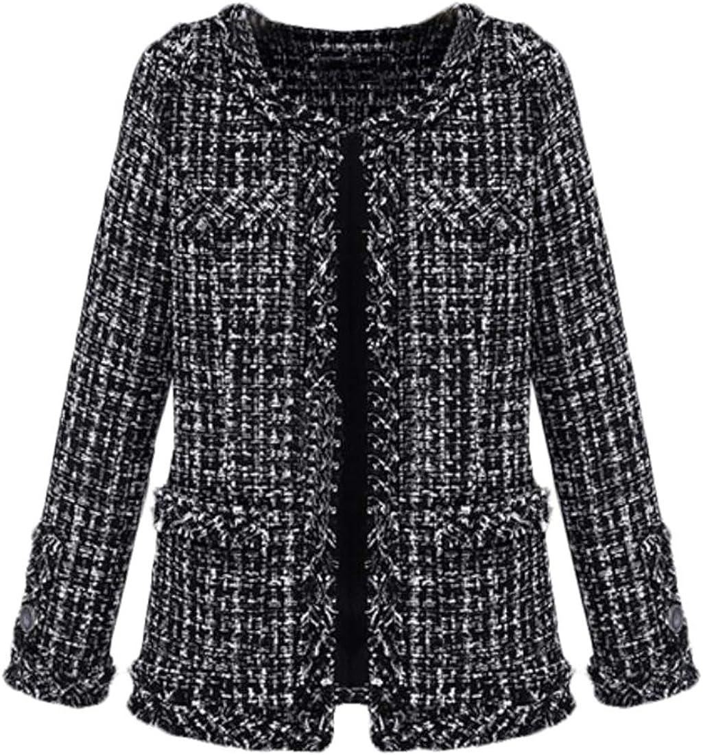 WNSY Women Collarless Open Front Wool Blend Tweed Jacket Short Coat