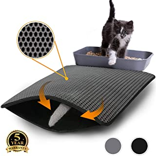 Flow.month Cat Litter Mat Litter Trapping,Kitty Honeycomb Double Layer Litter Mats for Litter Boxes,Waterproof Trapper Mats Small Size 24''x18'' Scatter Control