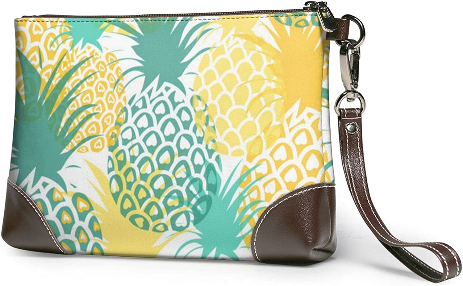 Wallet Yellow And Dark Green Stick Figure Pineapple Printed Ladies Wristband Handbag Leather Clutch 8 X 5.5 X 1.5 Inches