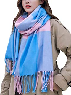 Women's Fashion Scarves Long Shawl Winter Thick Warm Knit Large Plaid Scarf