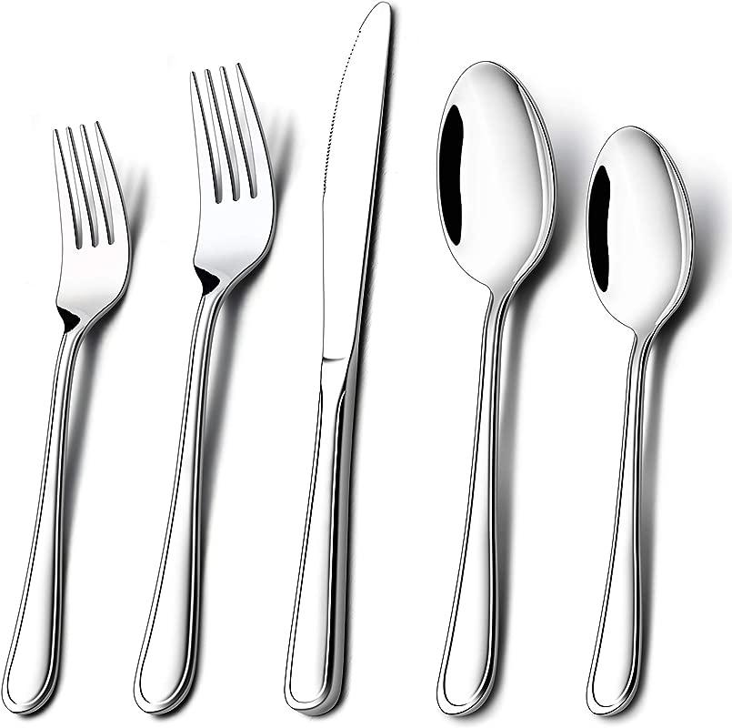 LIANYU 20 Piece Silverware Set Stainless Steel Flatware Utensil Set For Home Kitchen Restaurant Hotel Dishwasher Safe Service For 4