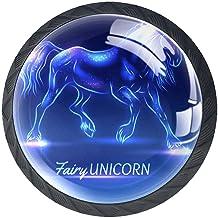 Ladeknoppen Ronde Kristal Glazen Kabinet Handgrepen Trek 4 Pcs,Fairy Eenhoorn Met Sparkles