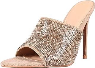0e37dfea92ab CAPE ROBBIN Womens Pointy Toe Rhinestone Mules Pump Sandals Stiletto High  Heel Shoes