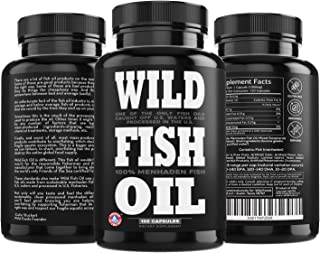 Wild Fish Oil, U.S. Caught Omega-3 DPA, DHA & EPA - Burpless Gel caps, Non-GMO, Sustainable Certified, Tested for Purity (1 Bottle 120 ct)