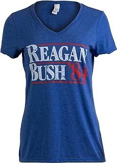Reagan Bush '84 | Vintage Style Conservative Republican GOP Women V-Neck T-Shirt