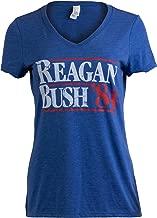 Reagan Bush '84   Vintage Style Conservative Republican GOP Women V-Neck T-Shirt