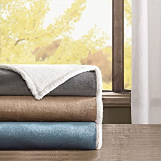 Madison Park Microlight to Berber Luxury Blanket Grey 9090 Full/Queen Size  Premium Soft Cozy Microlight Plush For Bed, Coach or Sofa