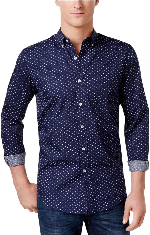 Club Room Mens Anchor Button Up Shirt