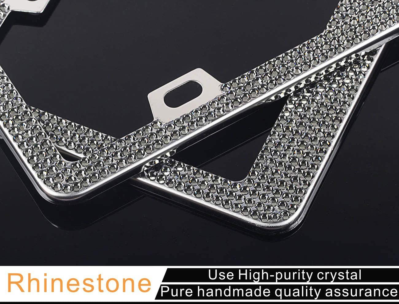 RUNONE 2 Pack Bling License Plate Frames For Women Girl,Sparkly Luxury Glitter Rhinestone License Plate Covers Set,2 Holes Shiny Iridescent Cute Crystal Diamond Car Stainless Steel Holder AB Colorful