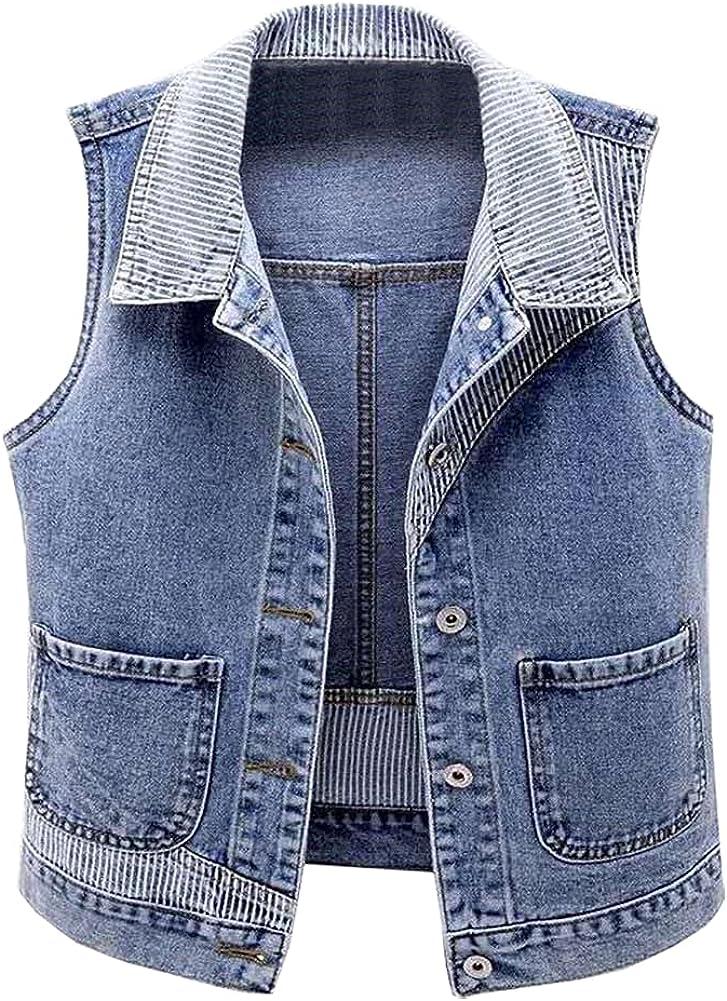 SCOFEEL Women's Slim Fit Sleeveless Stripe Patchwork Denim Jean Vest Jacket